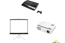 Bundle Beamer & Leinwand klein & PS3